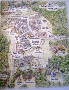 Map of Beatrix Potter's World.E҉nglish I҉dylls