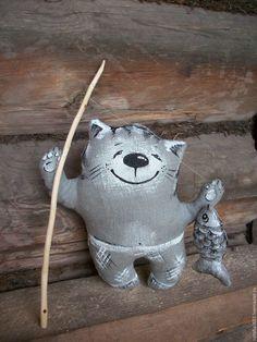 Купить Льняной Котик Рыболов....Невероятный везунчик!!! - серый, Кот рыболов, любителям котов кошек