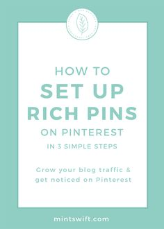 How to Set Up Rich Pins on Pinterest in 3 Simple Steps. Grow Your Blog Traffic & Get Noticed on Pinterest | Step-by-step instructions on how to set up Rich Pins on Pinterest in WordPress. With Rich Pins, you can grow your blog traffic and get noticed on Pinterest quicker! Learn the differences between regular and rich pin. Find out the benefits of Rich pins. See how to set them up at mintswift.com #mintswift by Adrianna Leszczynska #pinterestmarketing #wordpress #creativeentrepreneur Business Checks, Business Tips, Blog Website Design, About Twitter, How To Get Followers, Blog Categories, Wordpress Template, Pinterest For Business, Business Website