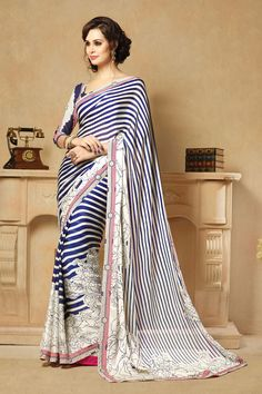White Color Casual Printed Party Wear Sarees From Easy Sarees.