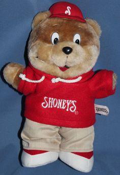 Shoneys Bear Mascot Restaurant Big Boy Plush Teddy Stuffed Animal Sweatshirt