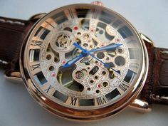 Rose Gold Mechanical Wrist Watch with Brown by ArtInspiredGifts