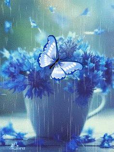 Blue Butterfly Wallpaper, Butterfly Gif, Rose Flower Wallpaper, Flowers Gif, Beautiful Rose Flowers, Beautiful Gif, Beautiful Butterflies, Beautiful Artwork, Cute Wallpaper Backgrounds