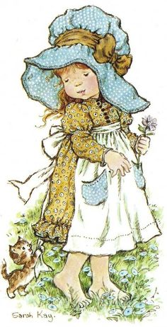 Nowadays, Sarah Kay is known all over the world. The overwhelming success of her designs may be due to the fact that they remind people of their own childhood. Sarah Key, Holly Hobbie, Illustrations, Illustration Art, Decoupage, Hobbies To Try, Hobby Horse, Sunbonnet Sue, Vintage Pictures