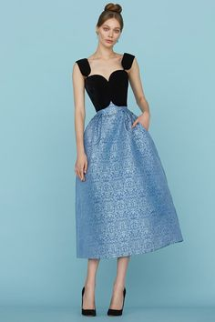 Ulyana Sergeenko SS15 Couture - lovely back bodice with a full blue patterned skirt #gown...x