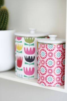 make diy upcycled tins w/ lids using mdf. you will never guess where those knobs on top are made of! Tin Can Crafts, Crafts To Sell, Diy And Crafts, Mod Podge On Wood, Diy Rangement, How To Make Toys, Craft Storage, Storage Bins, Storage Ideas