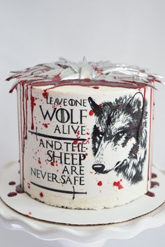 Game of thrones cake, leave one wolf alive and the sheep are never safe, Game Of Thrones Birthday Cake, Game Of Thrones Cake, Creative Cakes, Amazing Cakes, Sheep, Wolf, Decorating, Baking, Cake Art