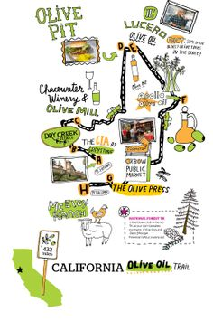 Map of Olive Oil Trail, California
