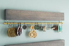 SALE driftwood gray wood and brass display racks set by fairlywell