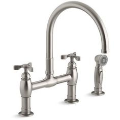 Kohler K-6131-3-VS Two-Handle Tri Deck-Mount Bridge Kitchen Sink Faucet with Side Spray 1.8 GPM