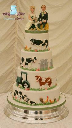 Farm Wedding Cake Art - Cake by Constance Grindrod Cow Cakes, Cupcake Cakes, Themed Wedding Cakes, Themed Cakes, Wedding Cake Designs, Wedding Cake Toppers, Wedding Ideas, Pretty Cakes, Beautiful Cakes