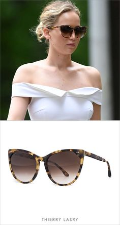 68c582fba4 Actress Jennifer Lawrence spotted wearing the Thierry Lasry    Swappy  Sunglasses in Tokyo Tortoise.