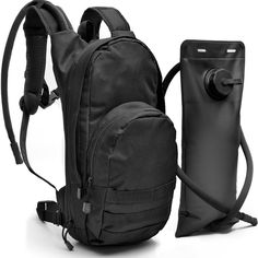 Black Tactical Hydration Pack with 3L Water Bladder Fits Men, Women, Kids - Military Style Daypack Backpack for Hiking, Running, Camping, Biking, Cycling, Walking, & All Outdoor Activities. KEEPS YOU WELL HYDRATED! 3 Liter replaceable water bladder bag included. No need to buy a reservoir or bladder, our backpacks come with a ready to go bladder to keep you well hydrated throughout your expedition. The bladder also has a wide screw cap so you can add ice cubes to keep your water extra…