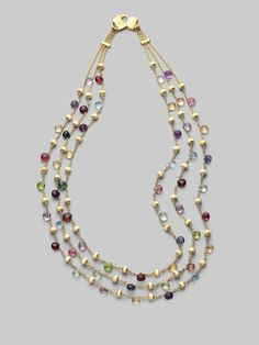 Gemstone Three-Strand Necklace - Marco Bicego ( Necklaces Short Collar Red Green Blue Purple Pink Gold - Yellow Gold - color Assorted stones)