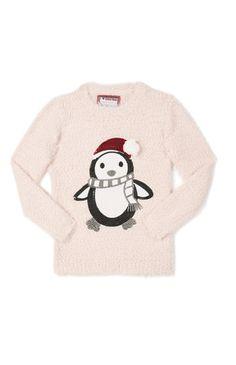 """Primark - Rosafarbener """"Pinguin"""" Weihnachtspulli"""