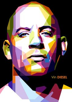 wpap art - Google Search: Vector Portrait, Digital Portrait, Vin Diesel, Pop Art Portraits, Portrait Art, Pink Drawing, Sketch Manga, Films Cinema, Cubism Art