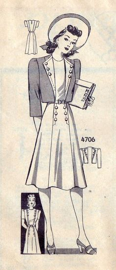 "1940s Misses Dress and Bolero Vintage Sewing Pattern, Anne Adams 4706 Bust 36"" uncut"