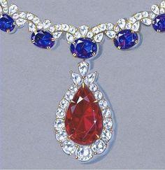 Colors I ❤️. #jewelryartist #jewelrydesign #jewelryart #rendering #remyrotenier #ruby #tanzanite #diamond #highjewelry #jewelry #jewellery #necklace