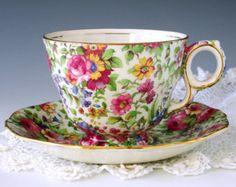 Spode Copelands Dimity Tea Cup and Saucer por TeacupsAndOldLace