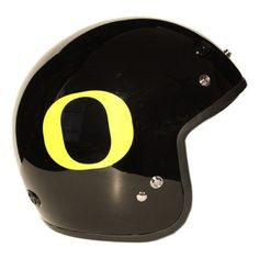 Motorcycle Helmet - University of Oregon Ducks - Three Quarter Shell DOT approved Limited Edition Merchandise - Officially Licensed Collegiate Custom Logo Helmets - College Biker Scooter Riding Gear - One of a kind UO product - WTD and Ride with U of O Duck Pride by FanRider - Extra Large. Gloss finish with licensed collegiate logos. Advanced lightweight durable shell and fully vented through-out shell. Easy detachable front for easy access.