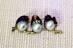 "Lovely 14K Gold Enameled Bird pin w/Blue Silver Baroque Pearl Bodies 1-7/8"" Bonanza $593.01"