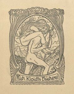 Bookplate by Hugo Höppener (Fidus) for Richard Kloidt, 1910