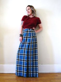 vintage 60s 70s tartan plaid kilt maxi skirt Glen Avon wool light blue Scottish Scotland classic Fall Winter boho preppy by detroitdolly on Etsy #maxikilt #scottish #vintageplaidmaxi #vintagefallfashion