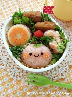 Mikan Onigiri Rice Ball Kyaraben Bento Lunch © Juru