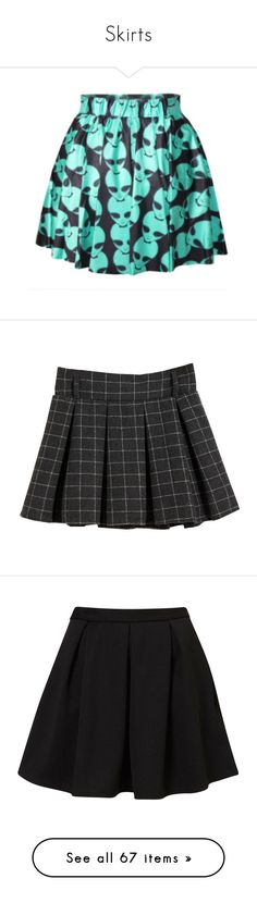 """Skirts"" by pierce-the-sunflower ❤ liked on Polyvore featuring skirts, bottoms, grey, women's clothing, gothic lolita skirts, gothic skirts, gray skirt, green skirt, elastic skirt and mini skirts"