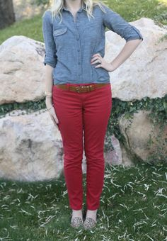 Chambray Shirt + Red Pants + Leopard Flats | Outfit | http://prettylifeanonymous.blogspot.com | #Chambray #Leopard #Outfit