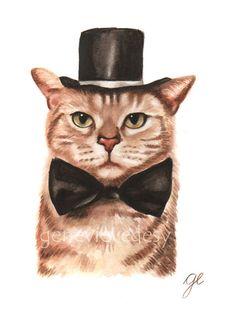 Christmas Cat Original Watercolor  Original by MatanteGe on Etsy