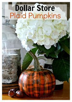 A quick, easy and inexpensive DIY using a dollar store pumpkin and pretty plaid tissue paper. chatfieldcourt.com