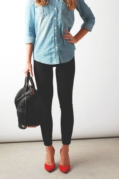 wardrobe basics: denim shirt, black skinny, red heel | perpetuallychic.com