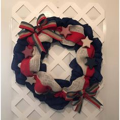Americana Home Decor ($80) via Polyvore featuring home, home decor, door wreaths, welcome plaque, star wreath, door plaques and bow wreath