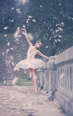 Ballerina on a bridge.