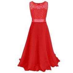 e7e026acd Girls Sleeveless Princess Children Lace Girl Dress For Wedding 4 6 8 10 12  14 Years Teenage Girls Trailing Party Prom Dresses