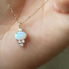 """-solid 14kt gold -18"""" 14kt gold chain -x3 pieces of 1.4mm white diamond VS1 -x1 piece o f 1.7mm white diamond VS1 -6x4m Australian Opal *100% hand-crafted in the USA *FREE shipping in the USA"""