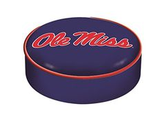 "Ole Miss Rebels HBS Navy Vinyl Elastic Slip Over Bar Stool Seat Cushion Cover  This item is designed & made to order by Holland Bar Stool Company.  Covers Bar Stool Seats Measuring Up to 14"" in Diameter and 4"" Thick. **Holland Bar Stool Company charges a 20% restocking fee for any exchanges and/or returns.  Screen printed on the seat cushion is a Ole Miss Rebels logo.  Officially Licensed NCAA Product  Top Quality Finest Commercial Grade Vinyl Bar Stool Seat Cover. Cover Slips Over Exi..."
