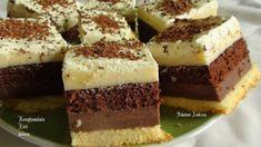 Habos csokis-vaniliakrémes kocka - Hiszed.Com Hungarian Desserts, Hungarian Recipes, Sweets Recipes, My Recipes, Cookie Recipes, Cake Bars, Dessert Bars, Layered Desserts, Just Eat It