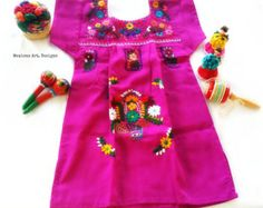 86a72996f Esmeralda Mexican Embroidered Baby Dress por MexicanartDesigns Hand  Embroidery Art, White Embroidery, Embroidery Designs
