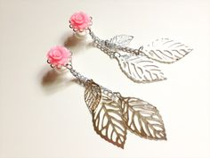 6g Filigree Dangle Plugs 4g, 0g Gauged Earrings Choose Rose Color, 2g Ear Plugs With Silver Dangles Body jewelry Piercing