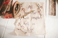 Their guestbook were quilting squares that they asked guests to sign, decorated with this adorable embroidered sign // photo by Luxe Wedding, Wedding Pins, Diy Wedding, Dream Wedding, Wedding Ideas, Wedding Crafts, Wedding Ceremony, Wedding Stuff, Guest Book Table
