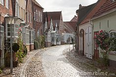 Cobblestone road in Tonder, Denmark