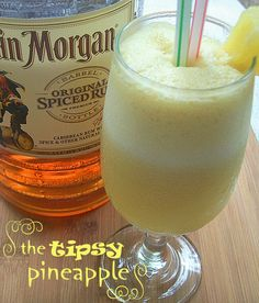 The Tipsy Pineapple (6 oz frozen pineapple juice concentrate ½ cup pineapple chunks 1 cup milk ½ cup rum 1 Tbs sugar)