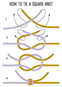 How to Tie A Square Knot - Instructions | DIY Survival Tool by Survival Life http://survivallife.com/2014/02/20/how-to-tie-a-square-knot-instructions/