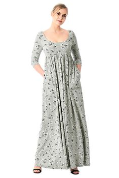 Floral print cotton knit empire maxi dress #eShakti