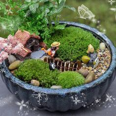 Totoro and Girl Go Out to Travel  A set 8pcs Fairy Garden