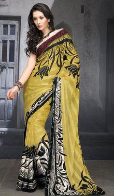 Price : 1696 INR :  Product Code :    G3-LS8530 :    Product Name:     Yellow Black Chiffon Desiginer Printed Saree.