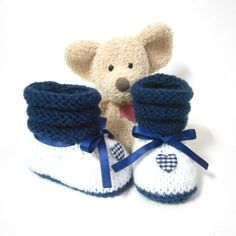 White and blue  hand knitted baby booties size 3 months Tricotmuse - no patern -just idea