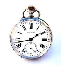 Antiguo Reloj De Bolsillo Suizo LONGINES Open Face por shopvintage1